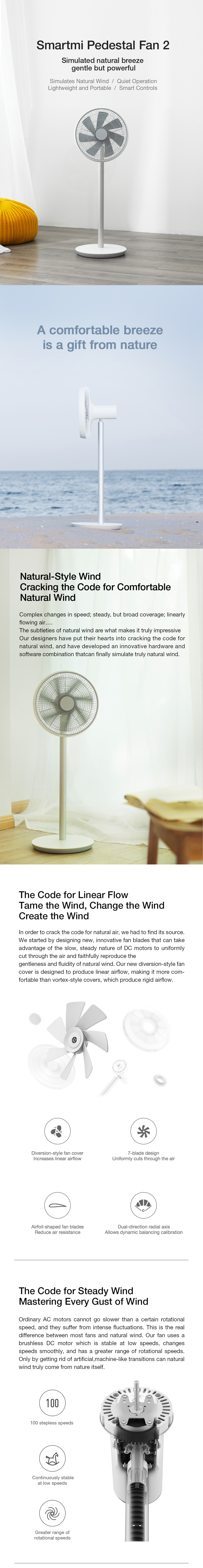 2019 New Version Smartmi Natural Wind Pedestal Fan 2 with MIJIA APP Control DC Frequency Fan 20W[XIAOMI Ecological Chain]