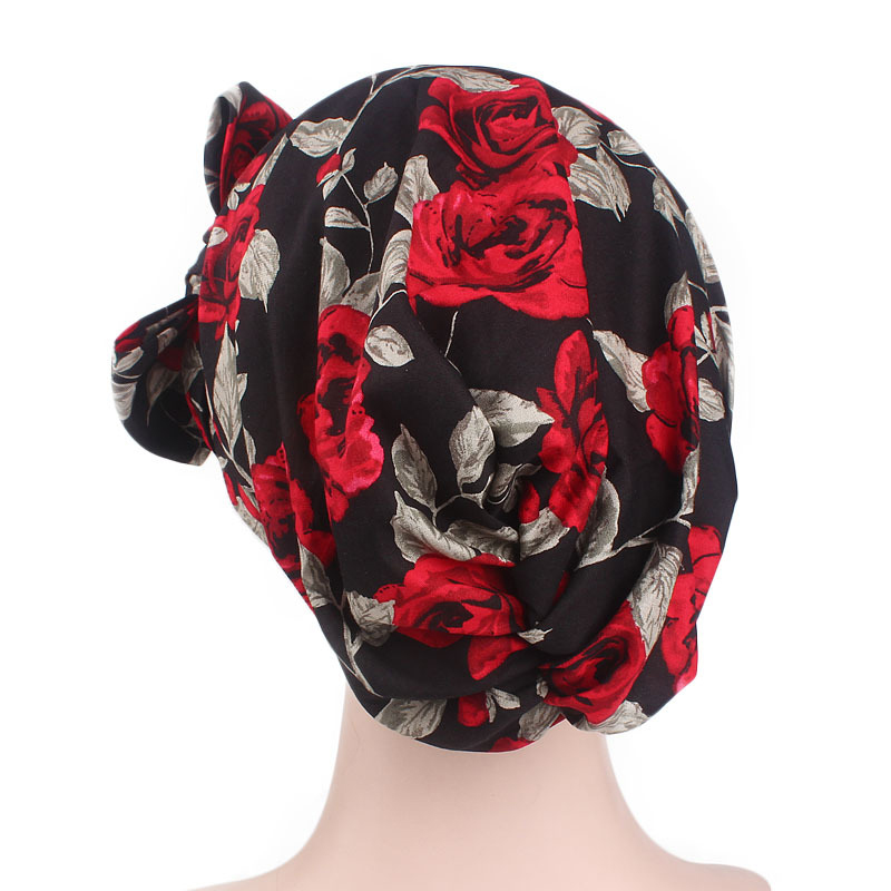 Outdoor Vintage Idyllic Floral Headscarf Cap Turban Hat Bean