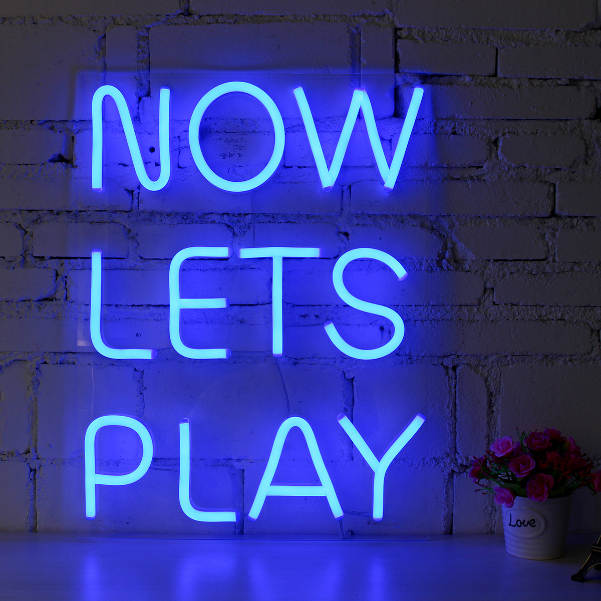 NOW LETS PLAY Neon Sign LED Tube Visual Artwork Bar Pub Club Wall Decor String Light