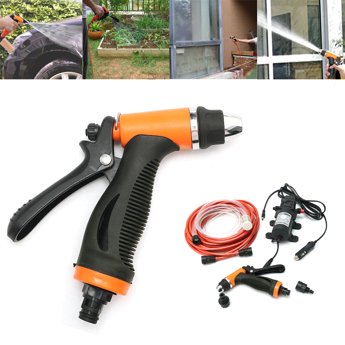 12V Portable 100W 160PSI High Pressure Car Electric Washer Auto Wash Pump Set Tool
