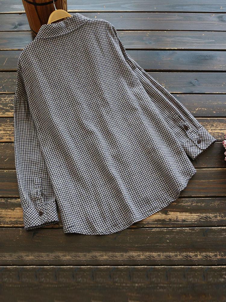 Cotton Linen Plaid Long Sleeve Pocket Women Vintage Blouse