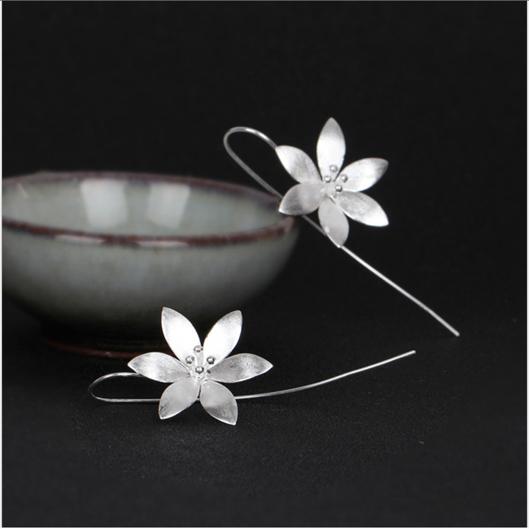 Vintage Ear Drop Earrings 925 Sterling Silver Flower Dangle