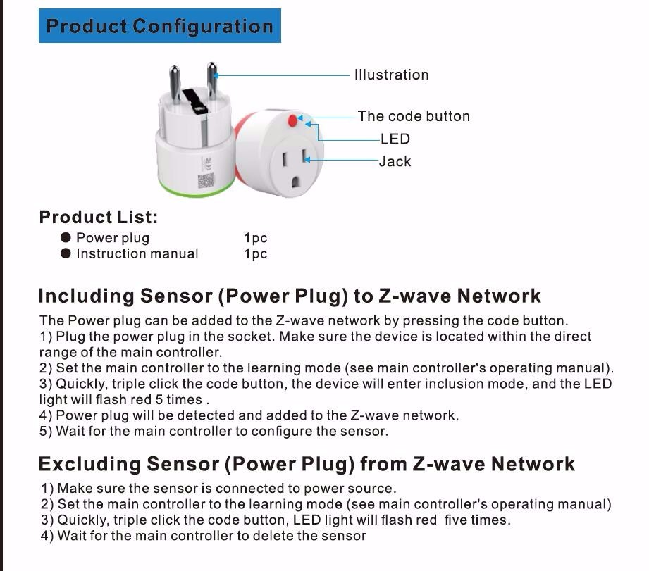 NEO COOLCAM Z-wave NAS-WR01ZE EU Smart Power Plug Socket Home Automation Alarm System Home Compatible With Z-Wave 300 And 500 Series