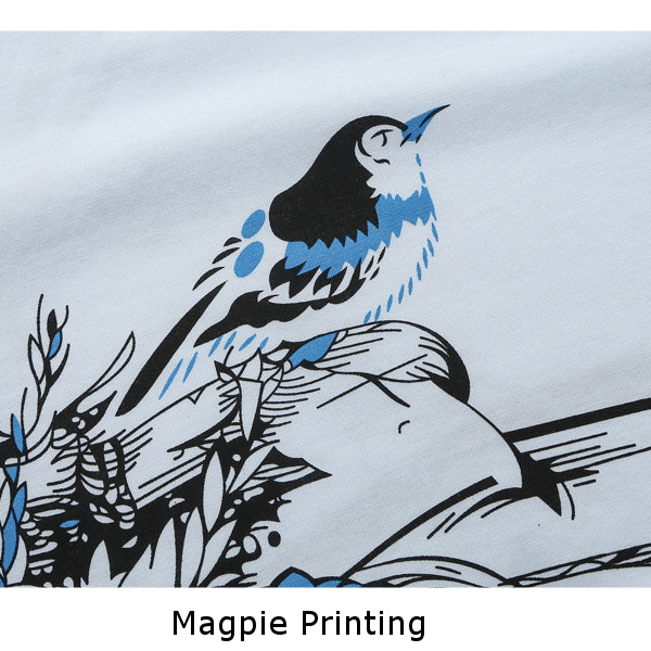 Mens Fashion Magpie Printing Folk Style T-shirts