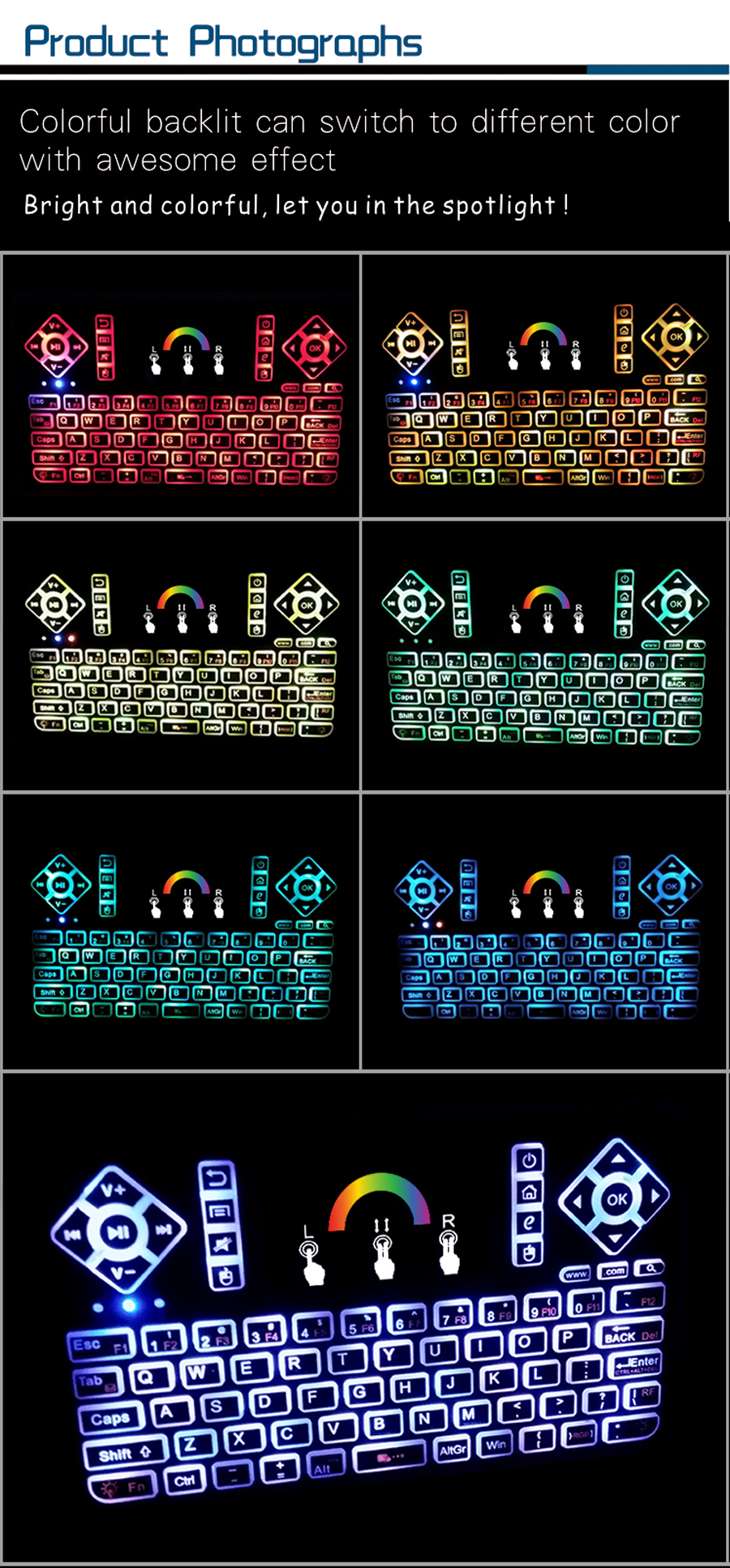 Q9 Wireless Colorful Backlit 2.4GHz Touchpad Air Mouse Mini Keyboard