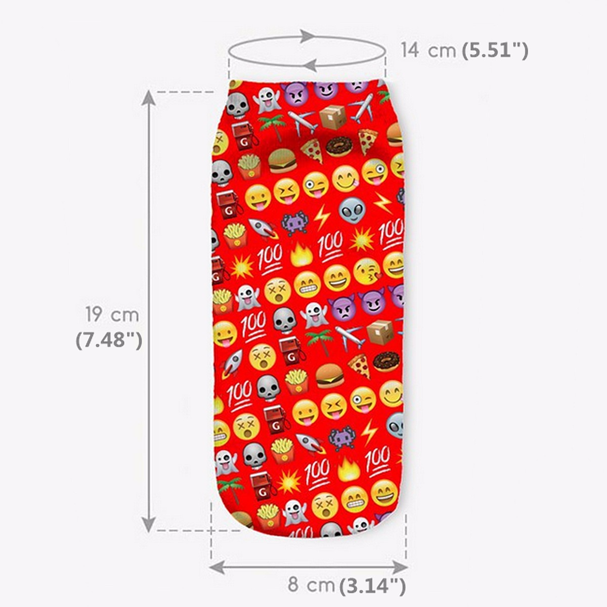 Unisex Men Women 3D EMOJI Digital Pringting Low Ankle Socks Harajuku Cute Hosiery