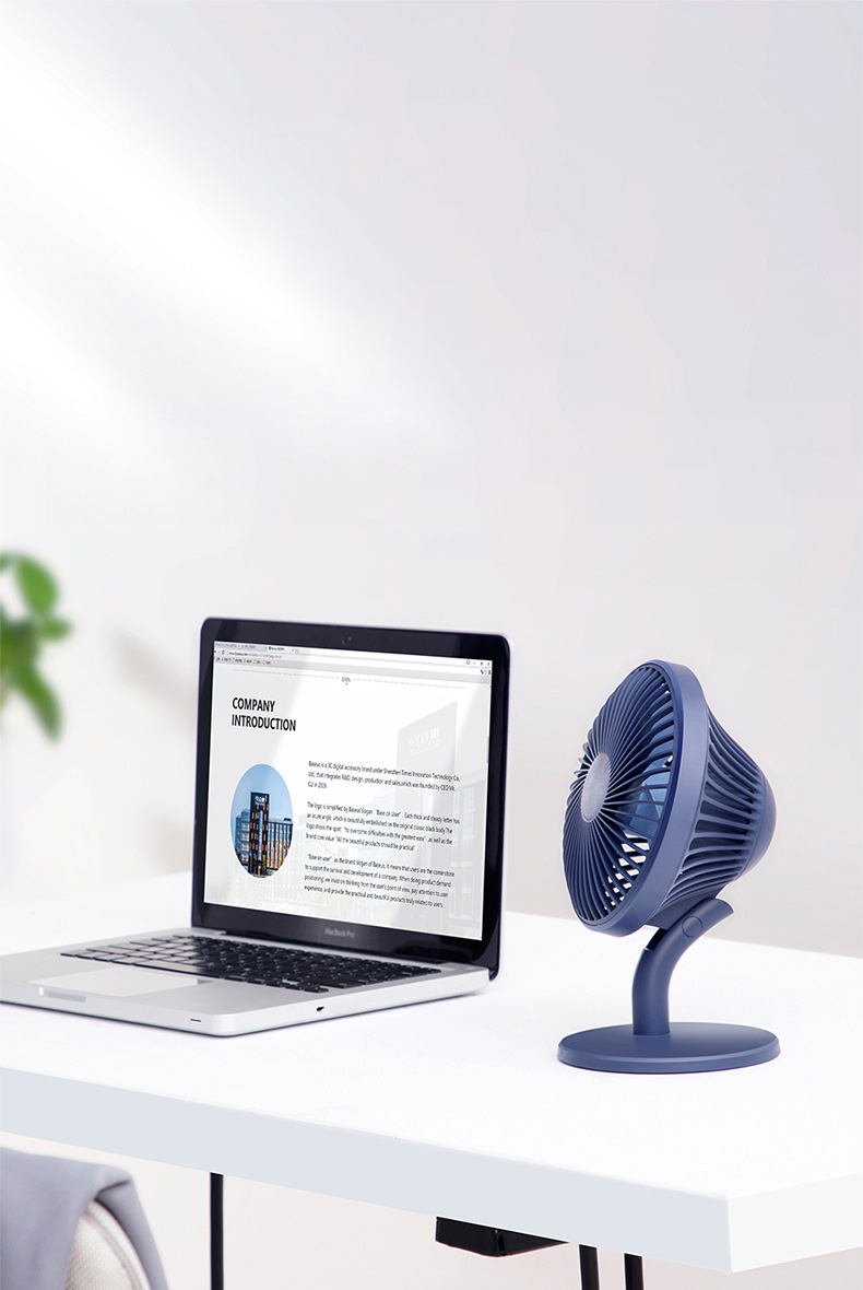 USB Desktop Fan Mini Office Mute Fan Air Circulation Automatic Frequency with 2000mAh Battery Capacity