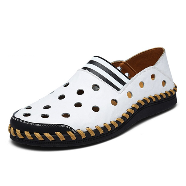 Men Casual Hollow Shoes Breathable Flats Soft Cortical Loafers