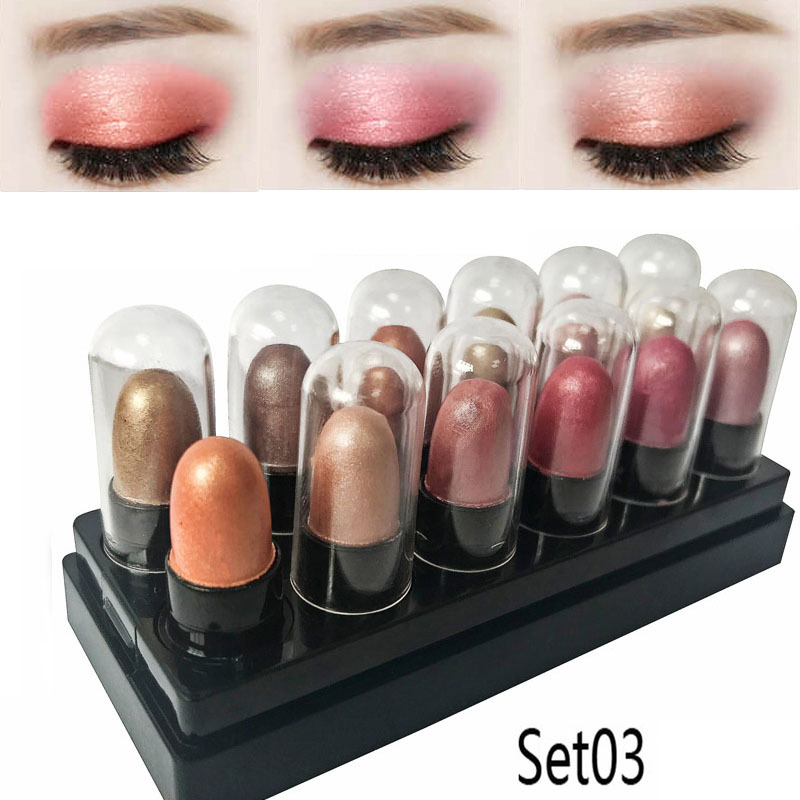 12 Pcs Mini Shimmer Eyeshadow Stick