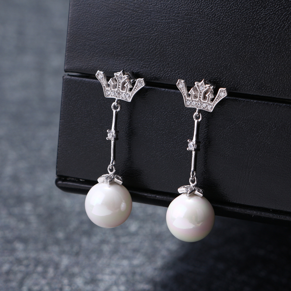 925 Sterling Silver Earrings Zirconia Crown Pearl Ear Stud