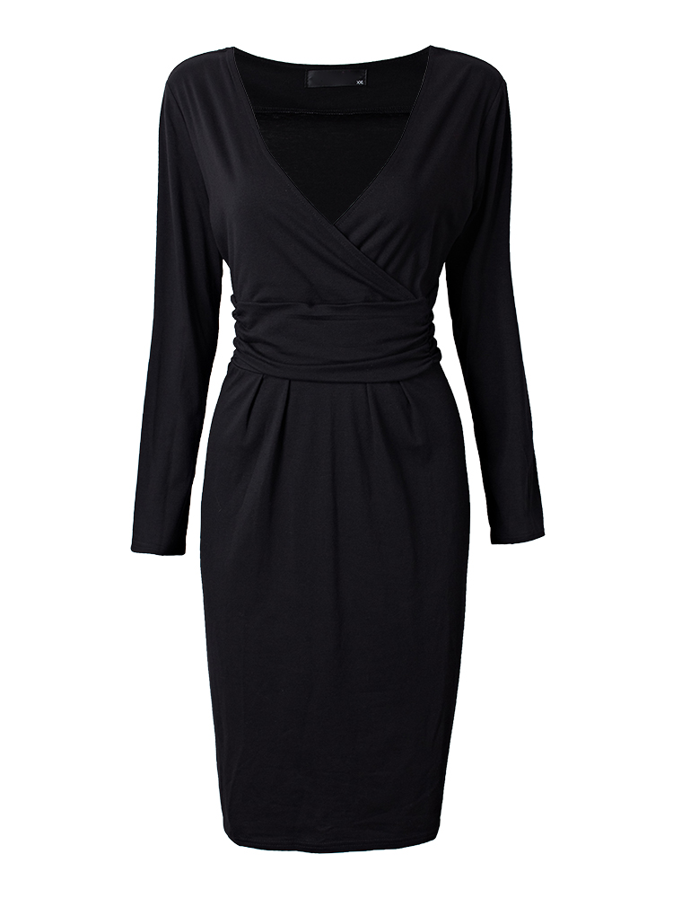 Elegant Office Lady Black V Neck Pleats Bodycon Work Dress