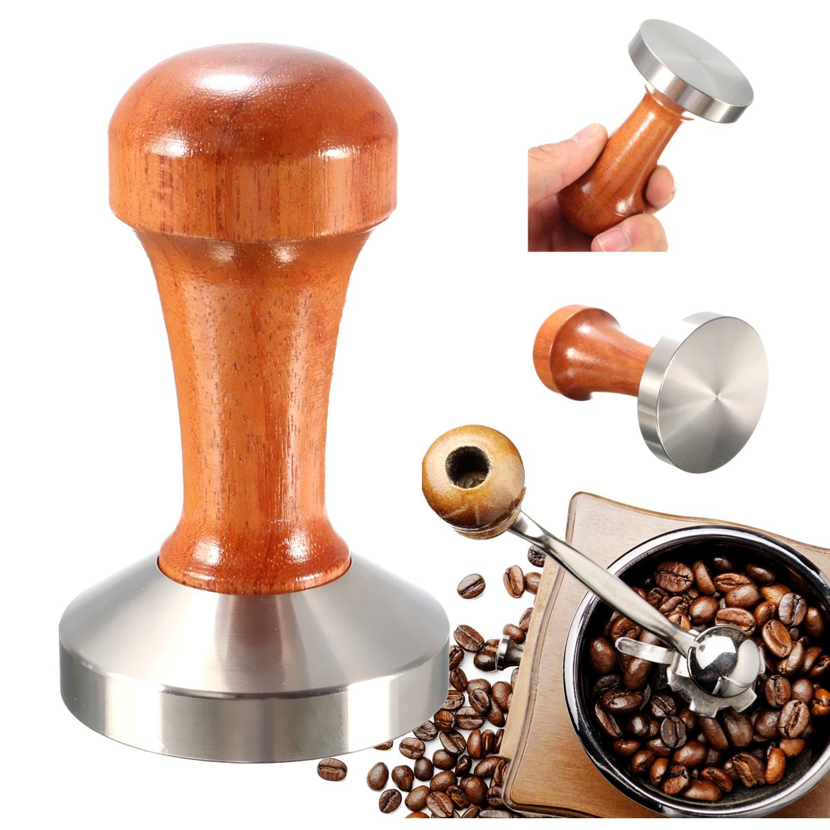 53mm Stainless Steel Cafe Coffee Tamper Bean Press for Espresso Flat Base Wooden Handle