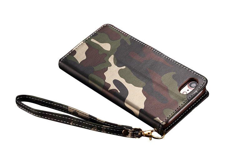 Camouflage PU Flip Wallet Kickstand Case With Strap For iPhone 7/8