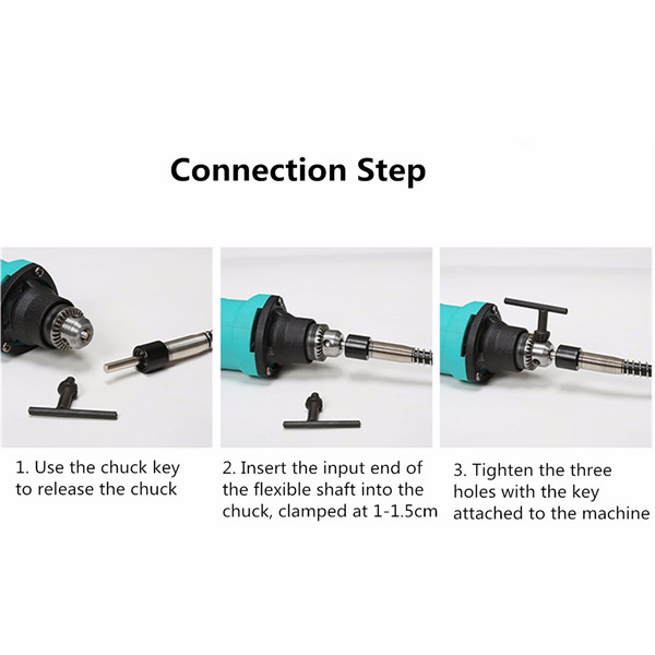 Extension Cord Flexible Shaft Rotary Grinder Tool with 0.3-3.2mm Keyless Chuck and Wrench