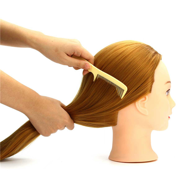 30% Golden Real Hair Hair Salon Mannequin Training Head Models Haircut Hairdressing