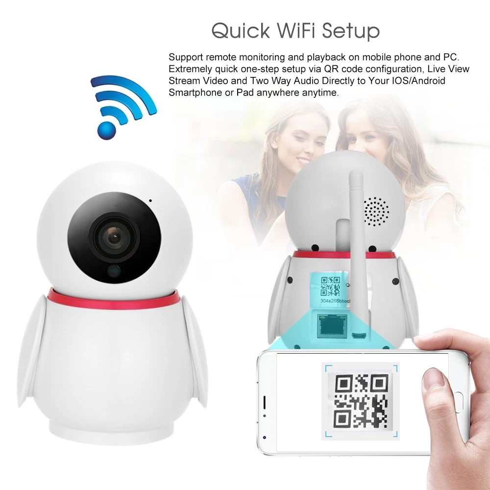 WIFI Camera 1080P Wireless IP Camera Baby Monitors Night Vision With Move Detection Tracking Voice Alarm P/T/Z Security Camera