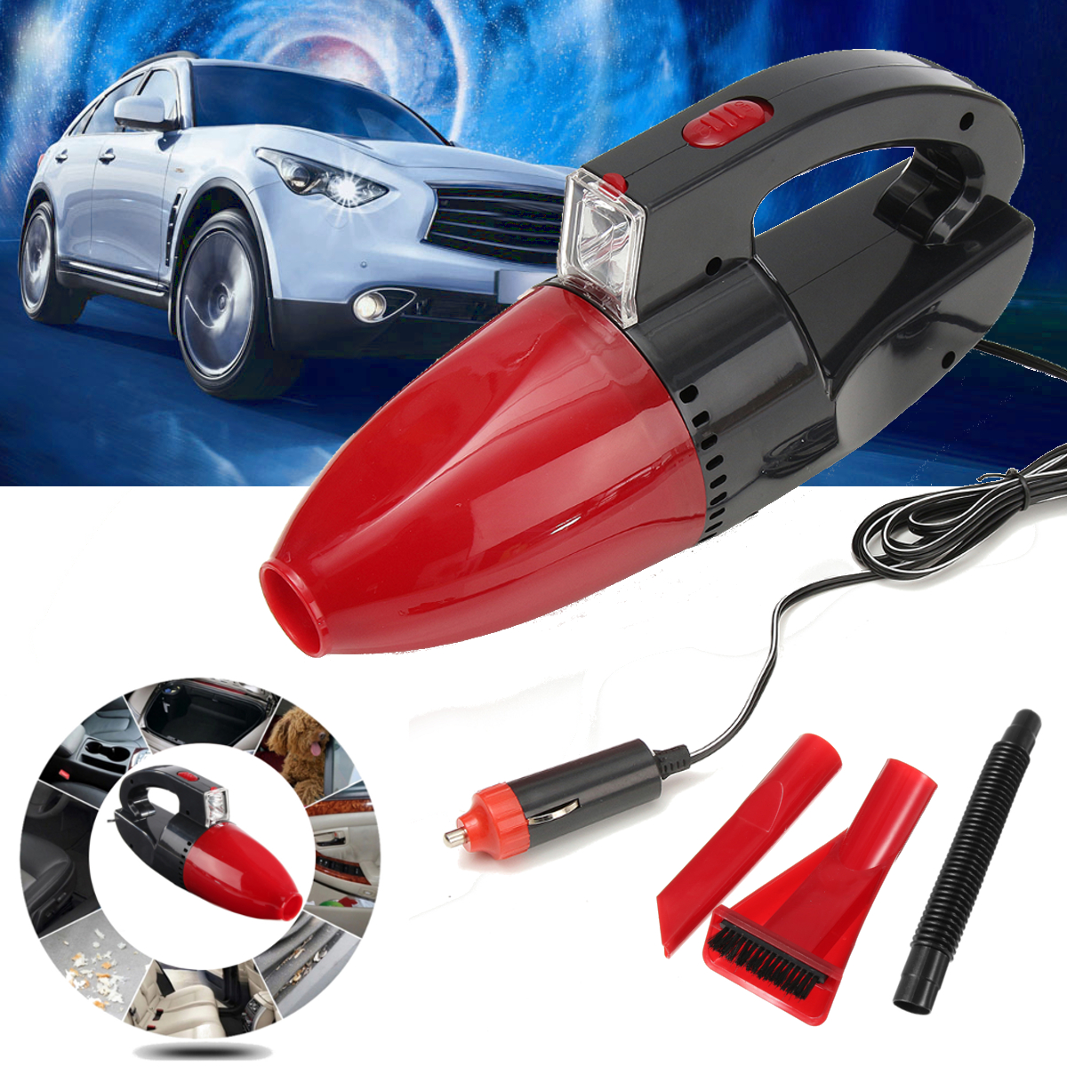 12V Portable Handheld Wet & Dry Car Vacuum Cleaner Vehicle Home Auto Dust Clean