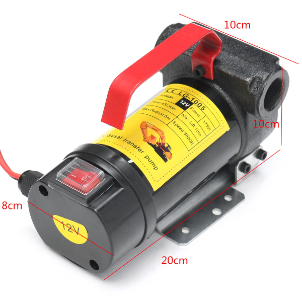 12V 175W Portable Diesel/Kerosene Electric Transfer Pump Fluid Extractor 45L/min