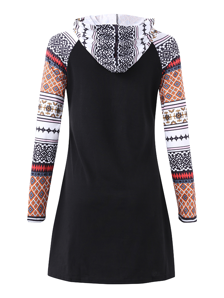 Casual Women Elk Printed Long Sleeve Hooded Mini Dresses