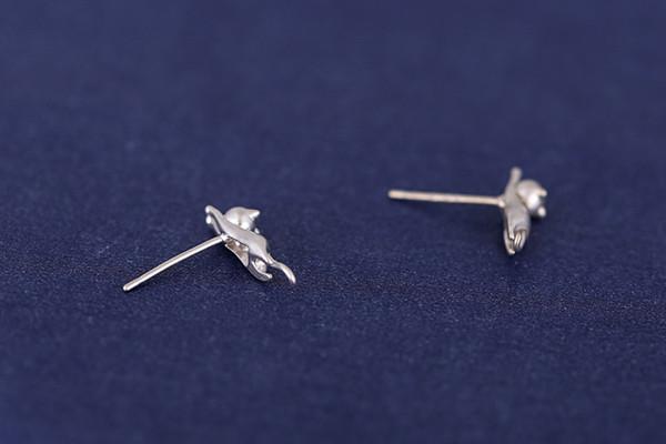 Lovely 925 Sterling Silver Platinum Animal Small Cat Ear Stud Earrings