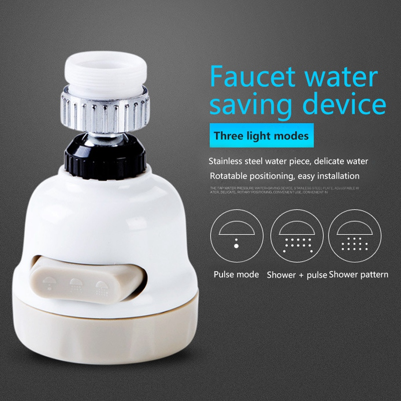 360 Rotary Faucet Booster Water Filter Device 3 Switching Modes Water-Saving High Pressure Kit Sprayer Head Taps Kitchen Bathroom Accessories