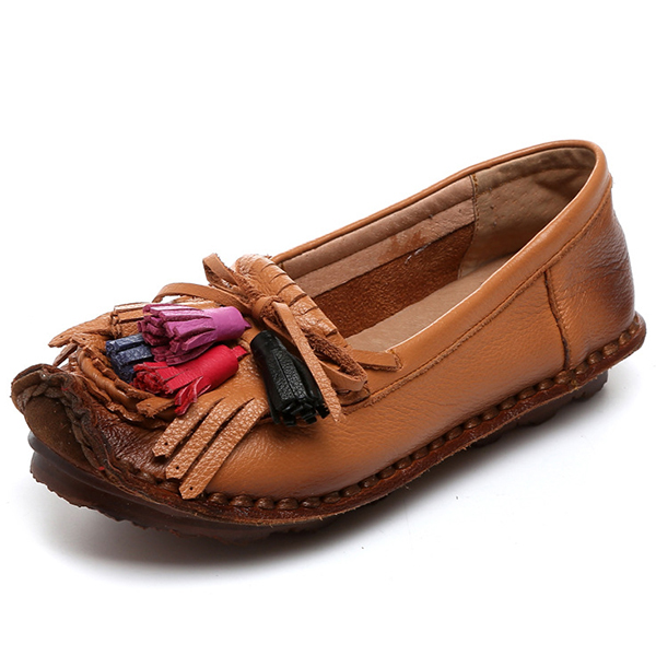 SOCOFY Soft Sole Round Toe Casual Tassels Flat Shoes