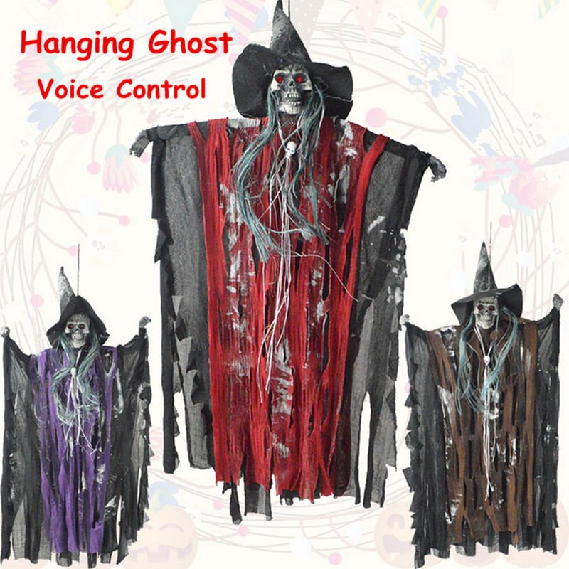 Halloween Hanging Ghost Witch Voice Red Light Eyes Party Decoration Toys Supplies