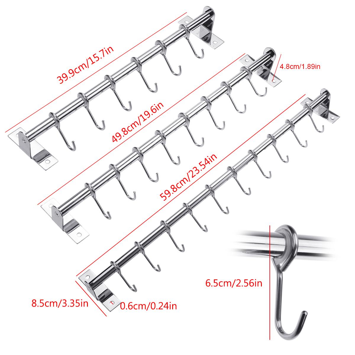 Wall Mount Stainless Steel Kitchen Rail Hanger Hooks Organizer Utensil Storage Holder Rack Bathroom