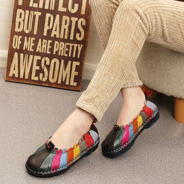 Colorful Flat Shoes Women Leather Soft Round Toe Casual Slip On Loafers