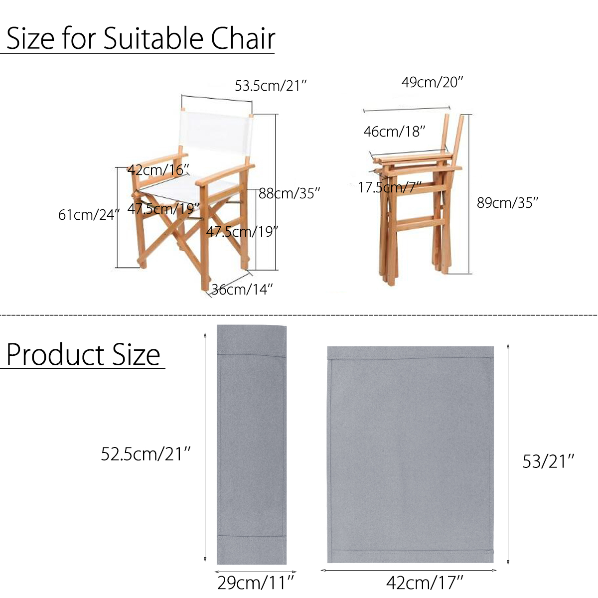 4 Color Directors Chairs Replacement Canvas Seat Stool Casual Back Cover Sheet Kit
