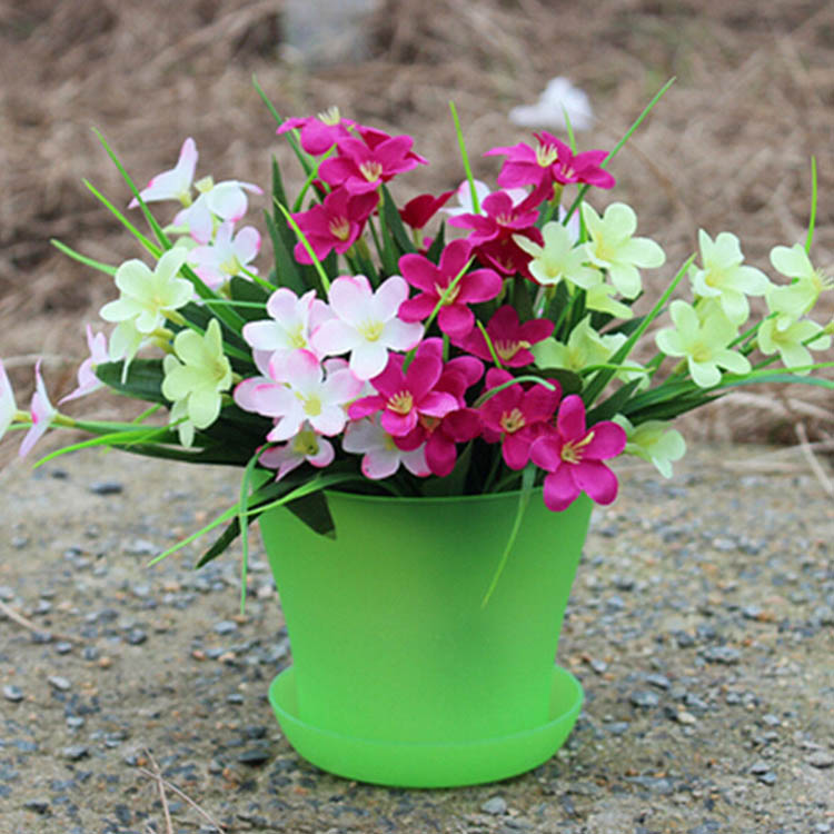 14cm 6 Colors Plastic Plant Flower Planting Flower Pot Garden Office Decoration Flower Pot With Tray