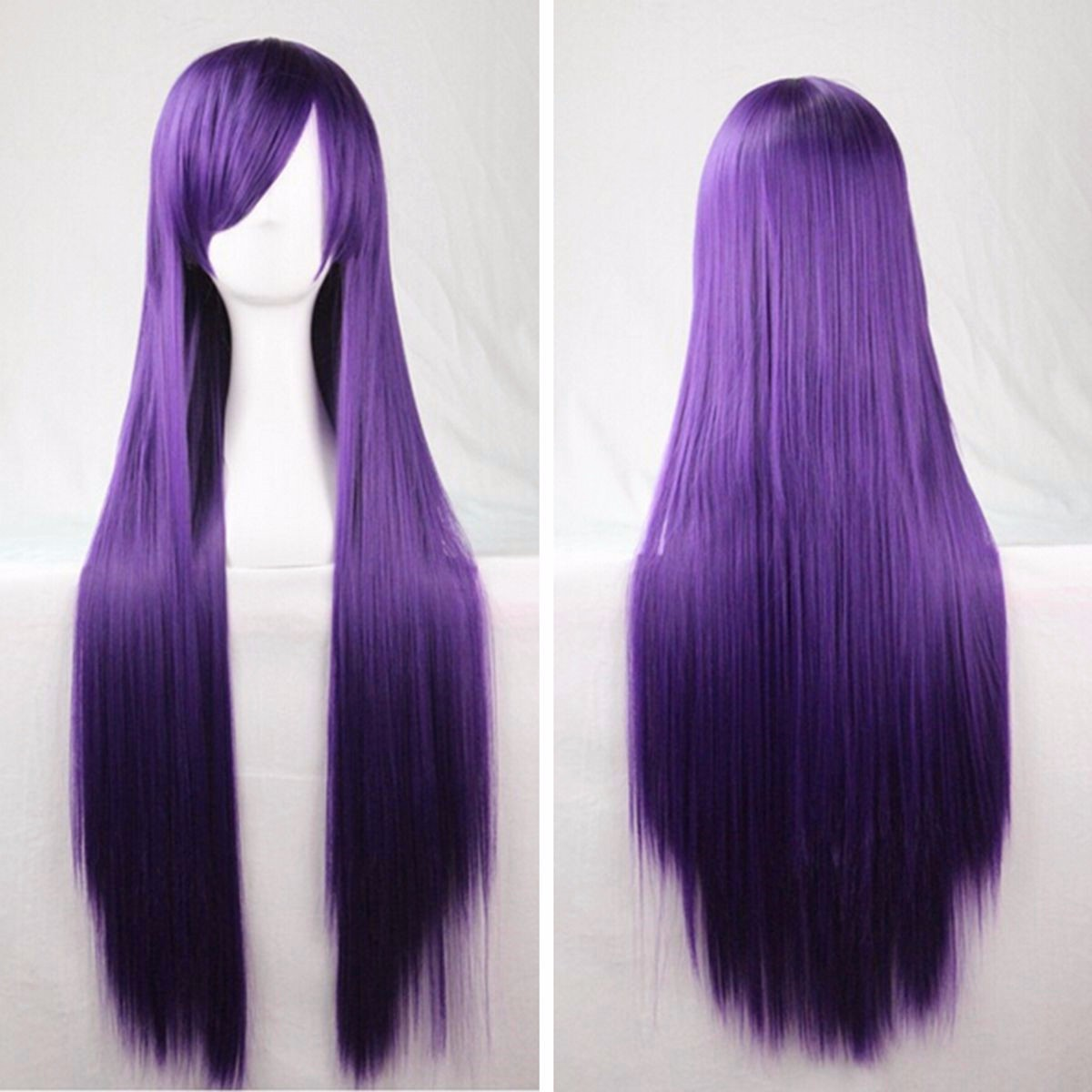 100cm Womens Long Anime High-temperature Fiber Wigs Cosplay Party Straight Hair Full Wig