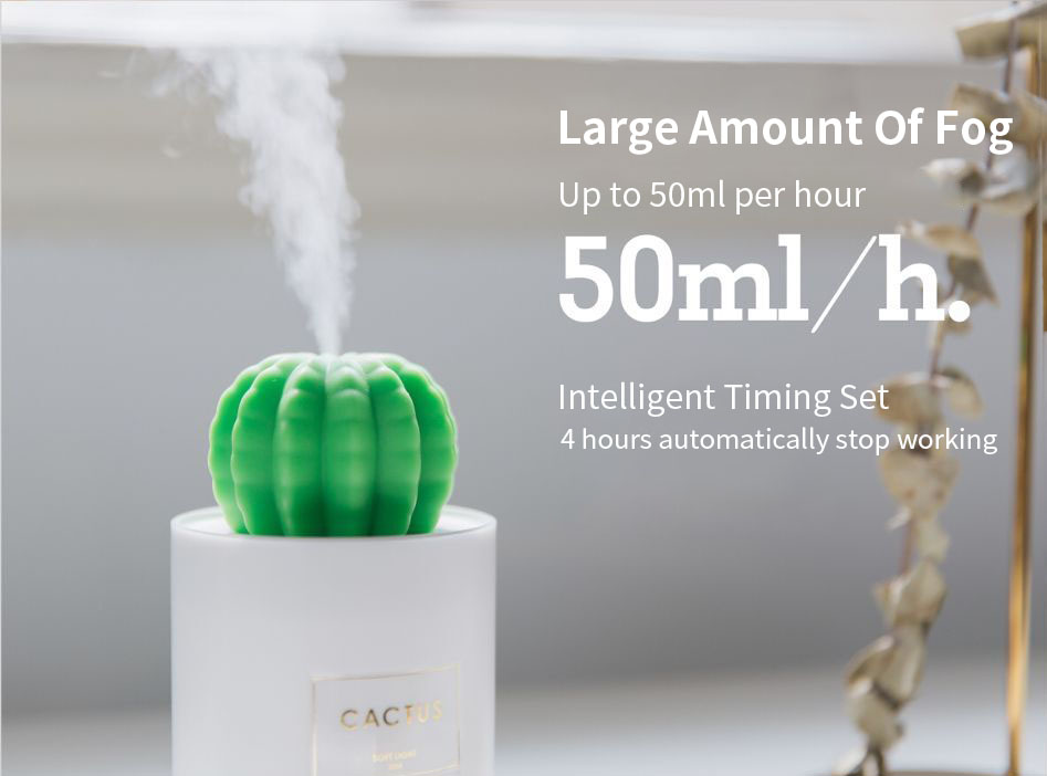 SOTHING 306B 280ML Cactus USB Mini Humidifier Ultrasonic Aromatherapy Car Humidifier Air Diffuser Mist Maker for Home Office