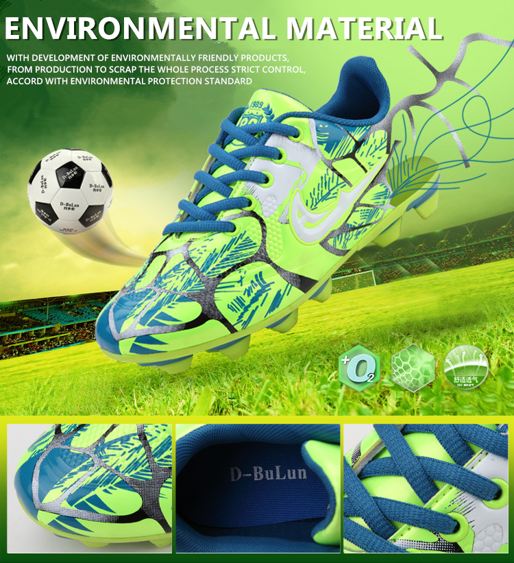 Football en plein air bottes chaussures de football de spike de formation d'adolescent artificiel d'herbe