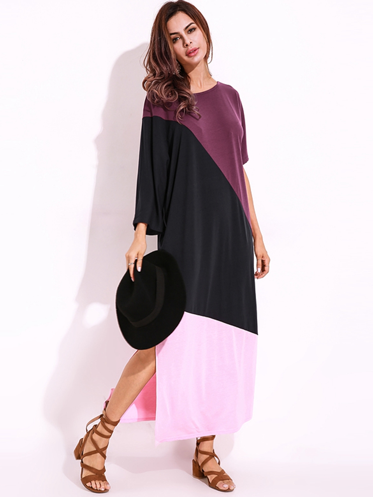 Off Shoulder Loose Color Patchwork Side Split Shirt Dress