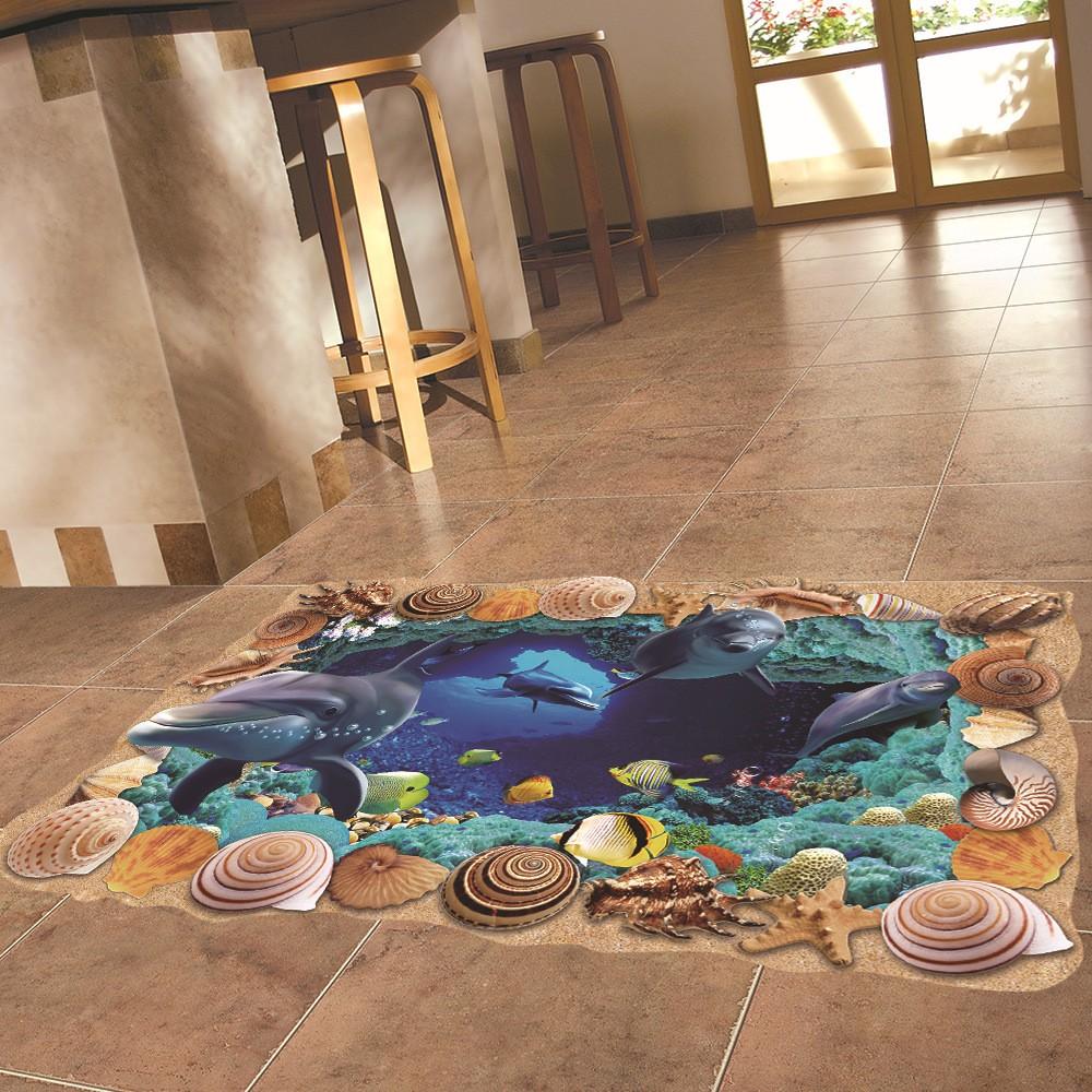 Miico Creative 3D Sea Shells Dolphins Removable Home Room Decorative Wall Floor Decor Sticker