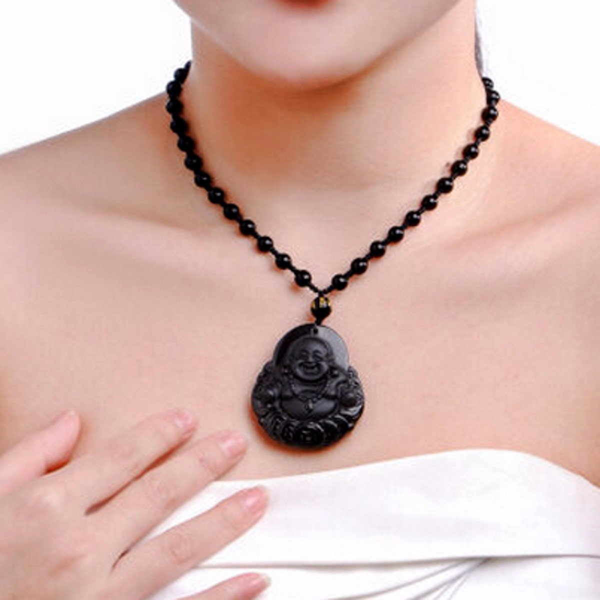 Black Obsidian Buddha Pendant Lucky Luck Beads Prayer Necklace Chain