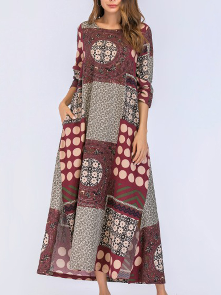 Ethnic Floral Print Patchwork O-neck Long Sleeve Dress