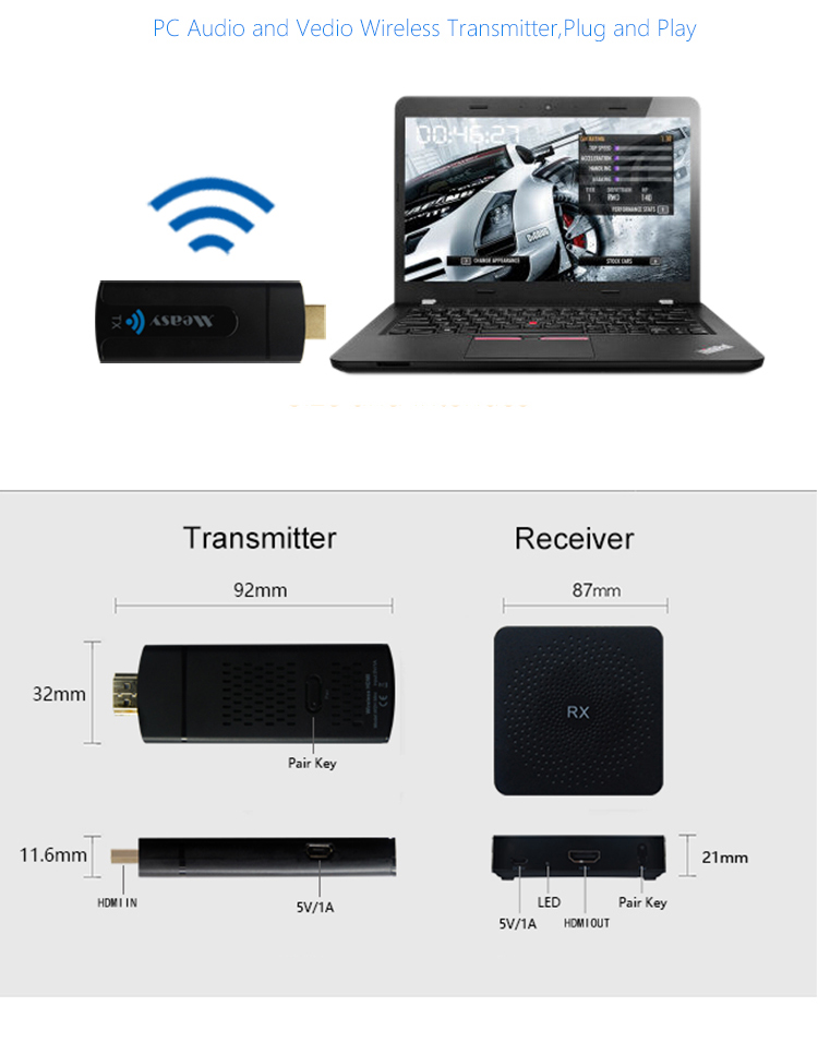 Measy W2H Mini Wireless HD Transmitter and Receiver Wifi Display Dongle