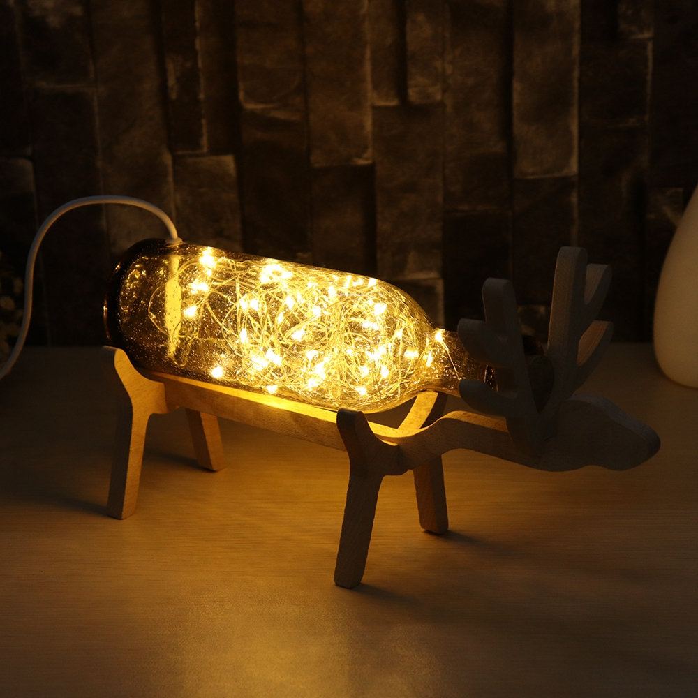 LED Glass Fairy Elk Deer Light Bottle Jar Night Light Table Lamp Christmas Home Decor Gift
