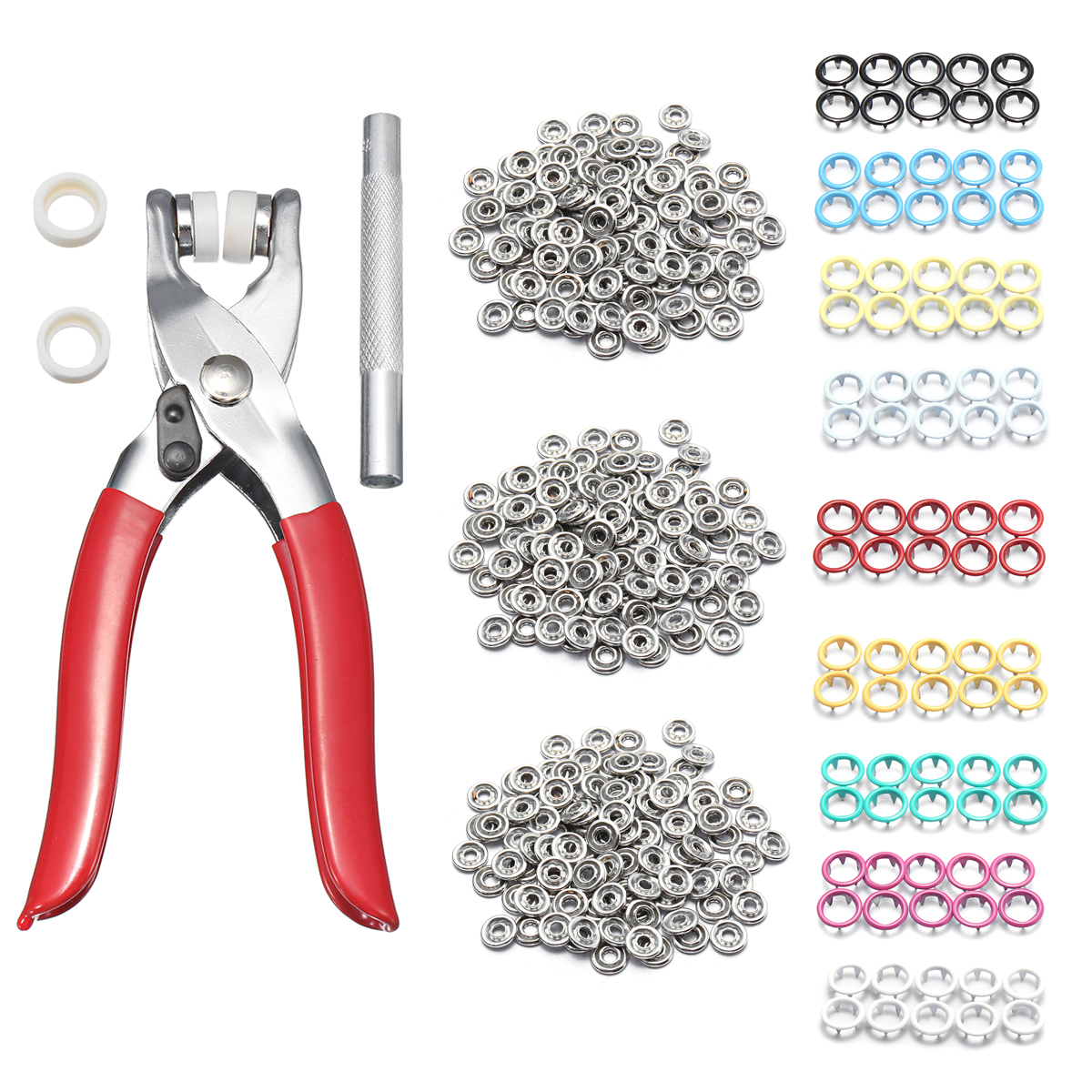 9.5mm 100 Sets 10 Colors Prong Ring Press Studs Snap Fasteners Clip Plier