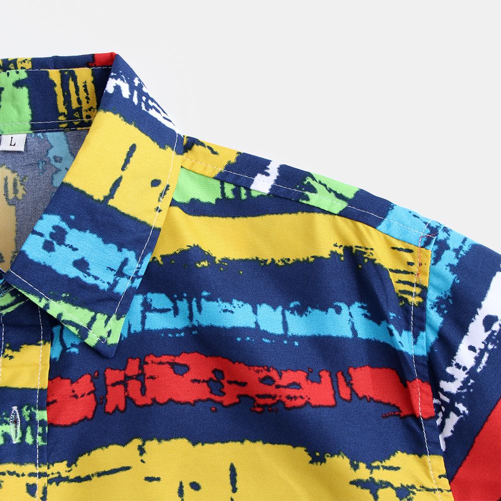 Mens Colorful Summer Stripe Printing Beach Shirts