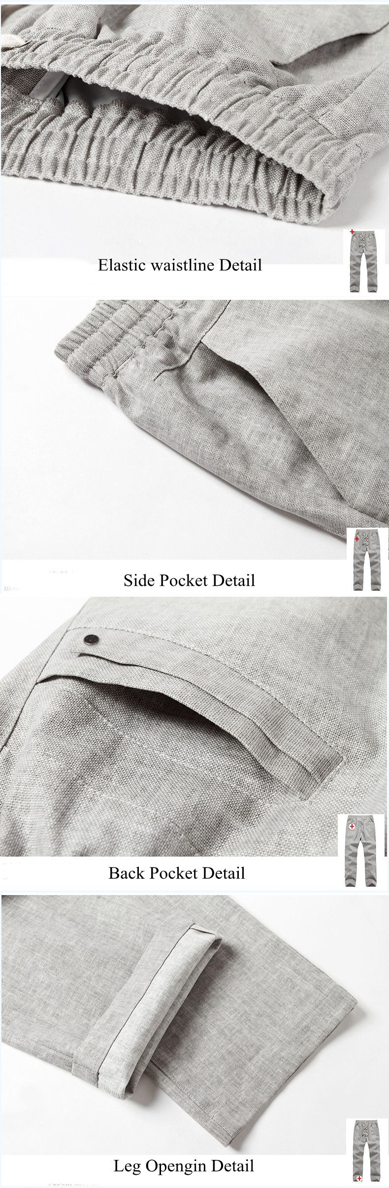 Summer Men's Linen Soft Breathable Pants Casual Solid Color Loose Drawstring Trousers