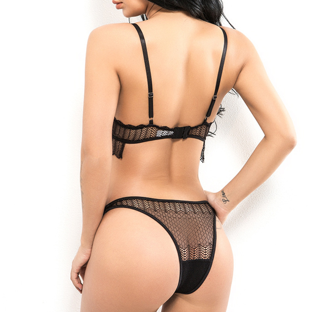 Women Wire Free Deep Plunge Backless Low Waist Bra Set