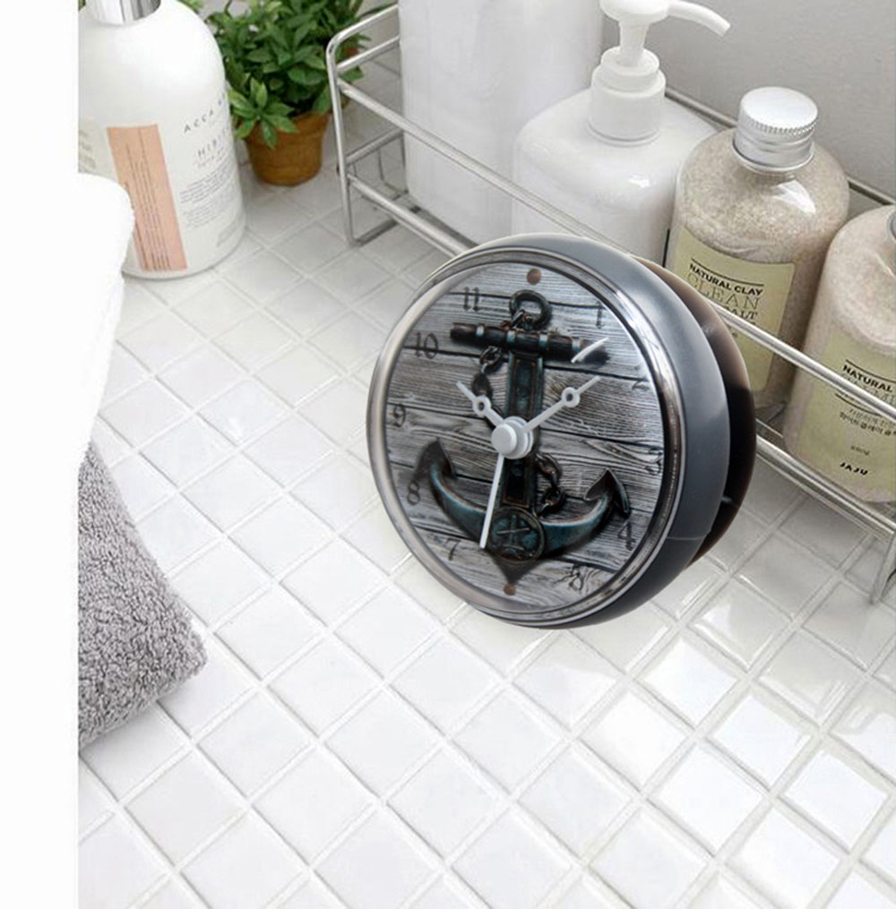 Mediterranean Retro 3D Anchor Waterproof Shower Wall Mini Watch Suction Cup Batteries Modern Clock For Kitchen Bathroom