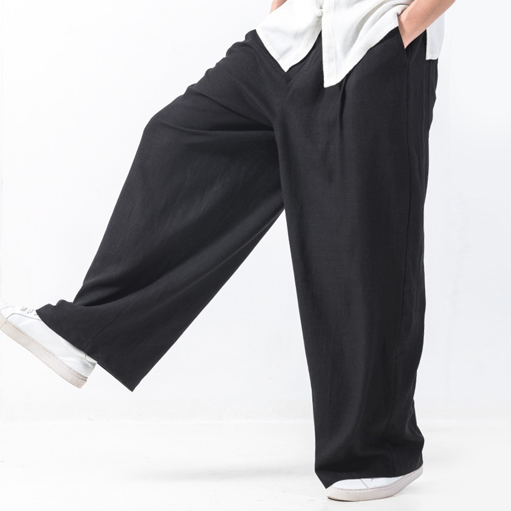 Mens Baggy Style Cotton Elastic Waist Loose Wide Leg Pants