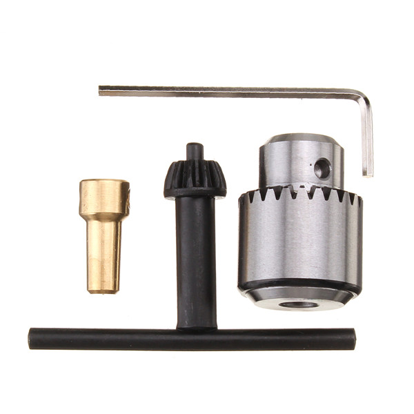 0.3-4mm Micro Motor Drill Chuck Clamp With Key and 1/8 Inch Shaft Connecting Rod