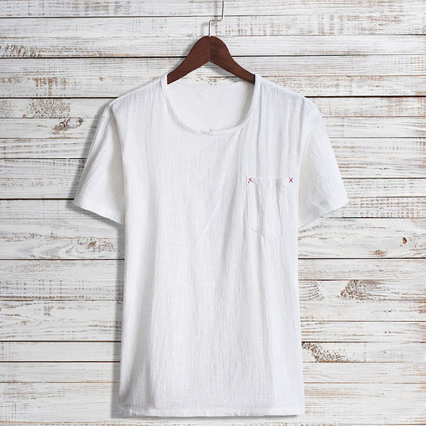 Chinese Japanese National Style Retro Cotton Linen Loose Plus Size Short Sleeved Men T-shirt
