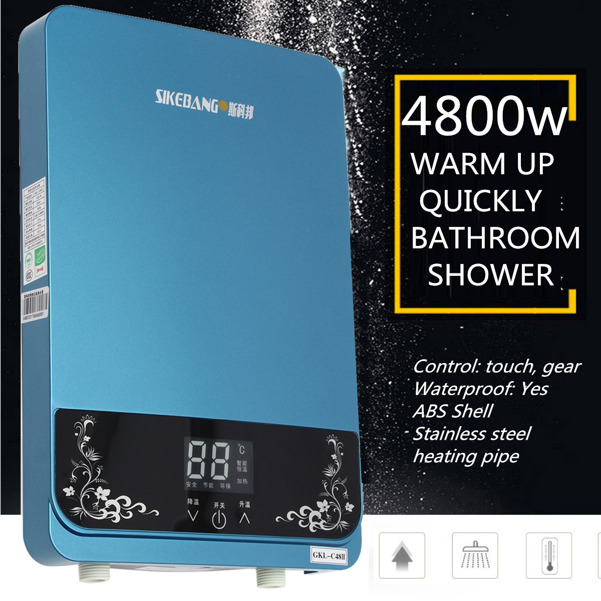 6500W 240V Instant Electric Water Heater Heating Tools Tankless Shower Hot Water System Set