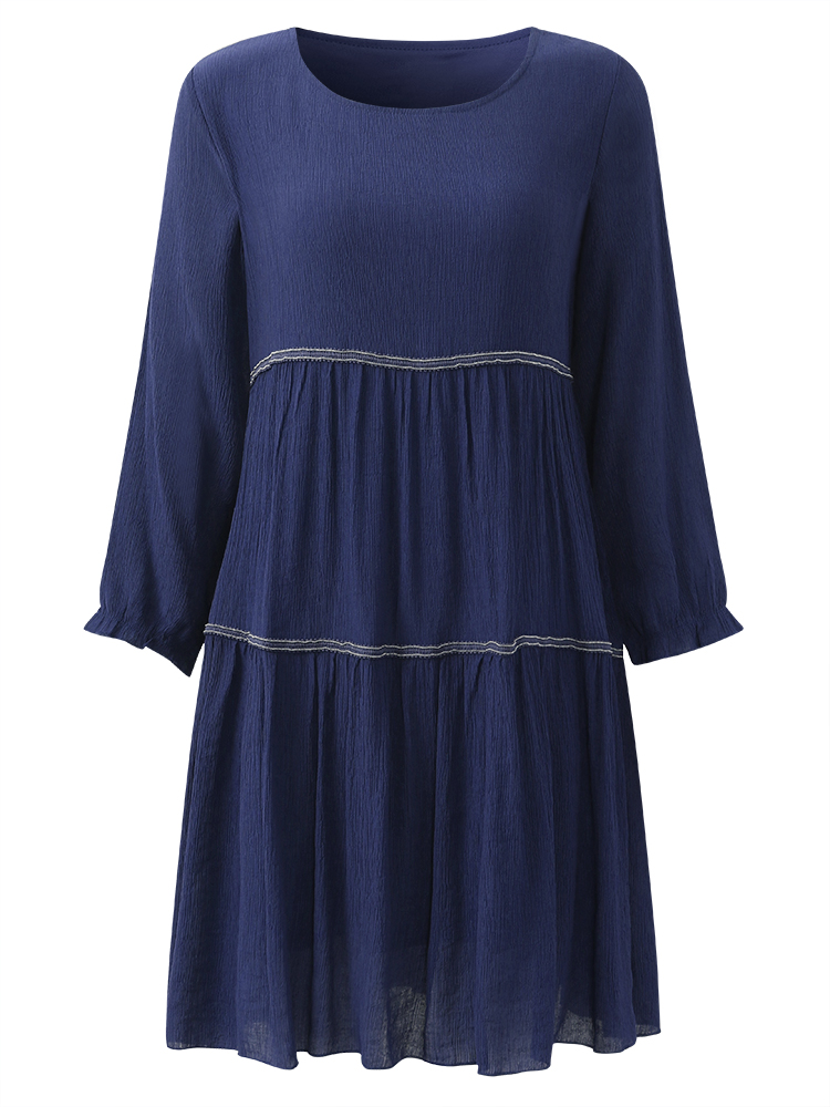 Casual Women Lantern Sleeve O-Neck Pure Color Pleated Dress